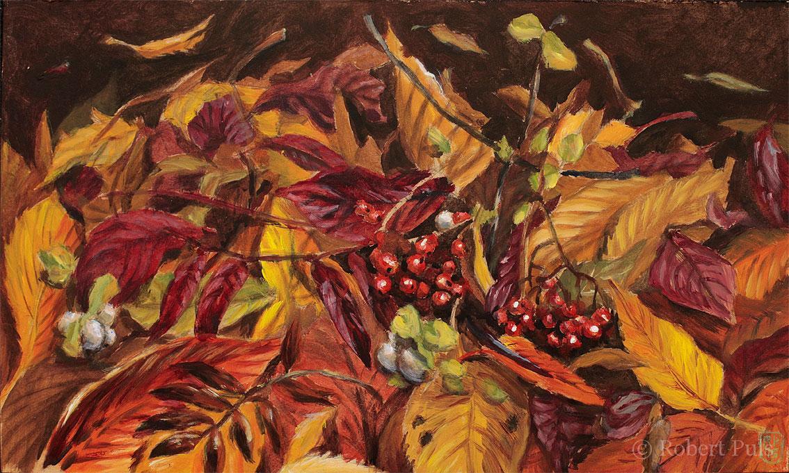 Herbstlaub Blätter bunt Malerei Acryl Öl Stillleben