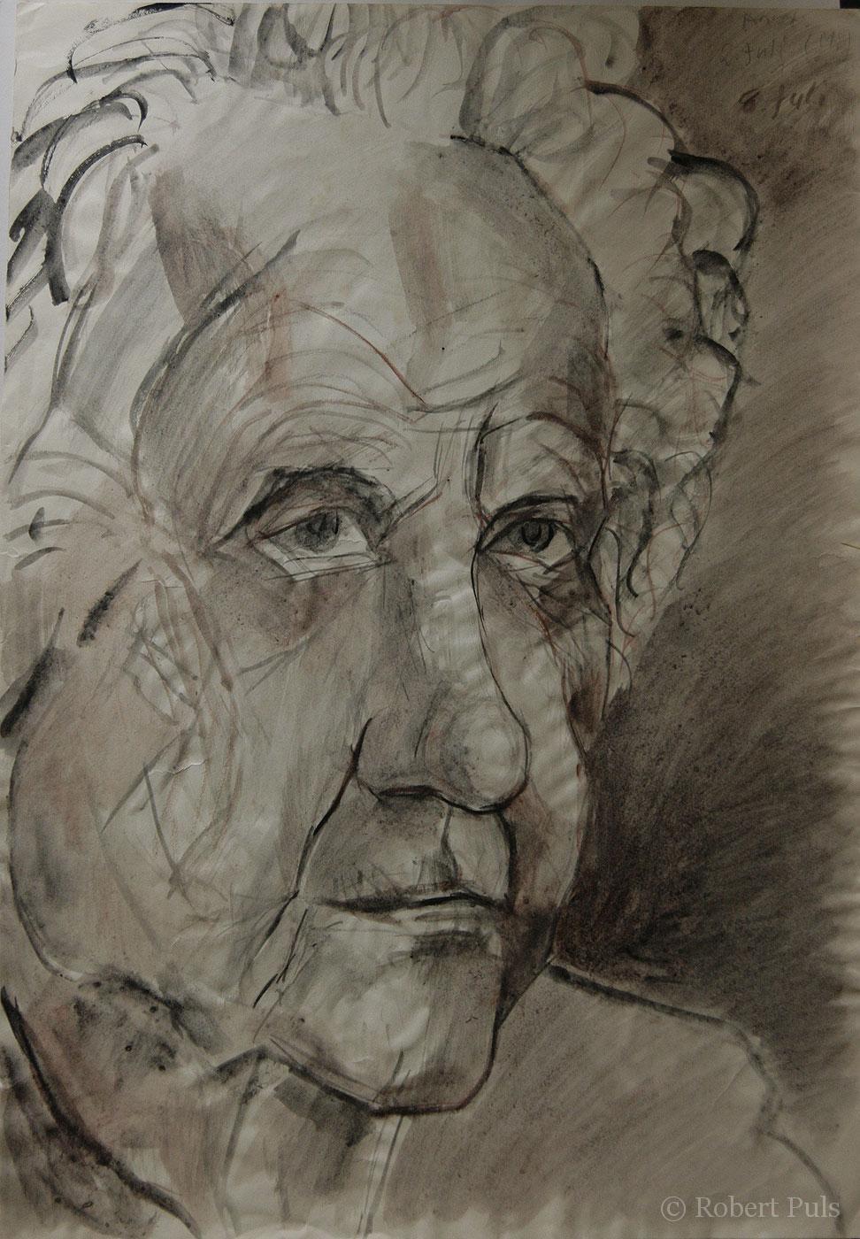 Frau Portrait Ausziehtusche Zeichnung