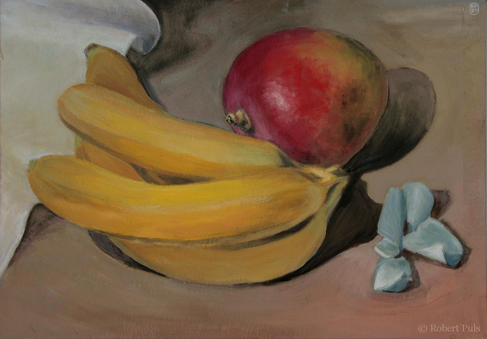 Banane Mango Obst gemalt Kunst