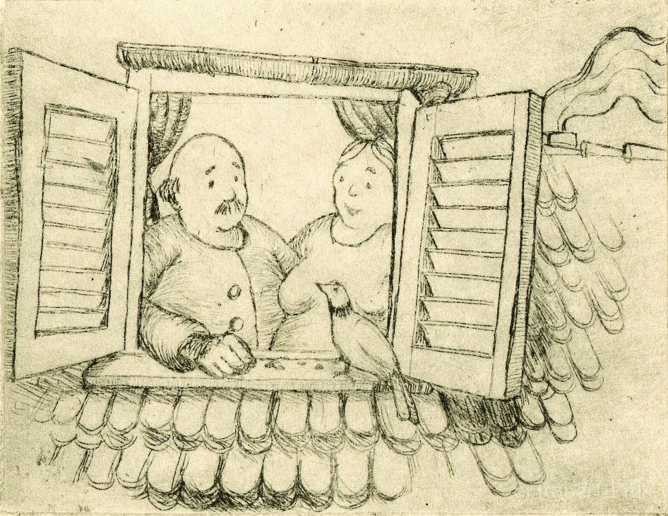 Radierung Paar am Fenster
