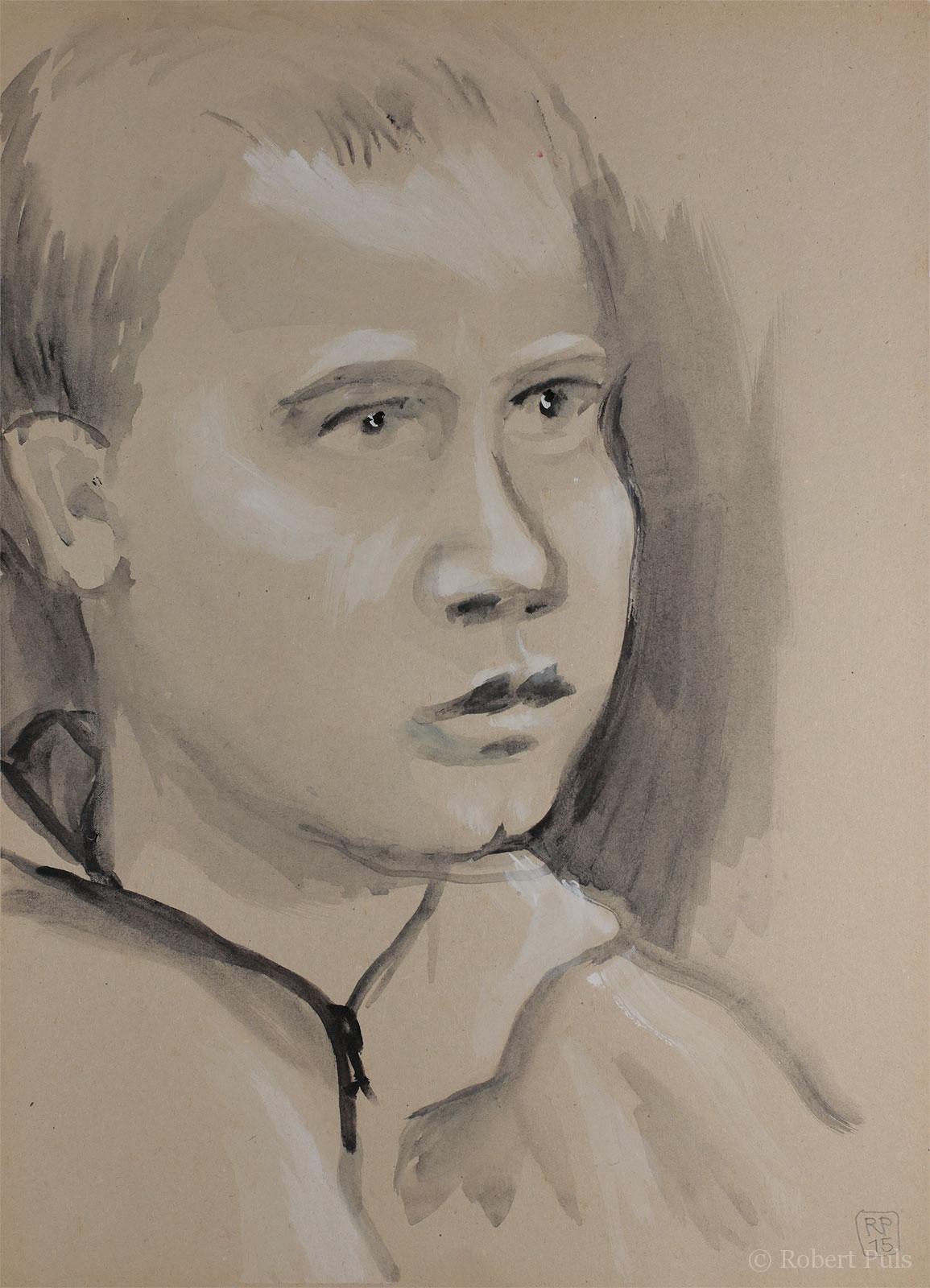 Portrait Kind Zeichnung Tusche