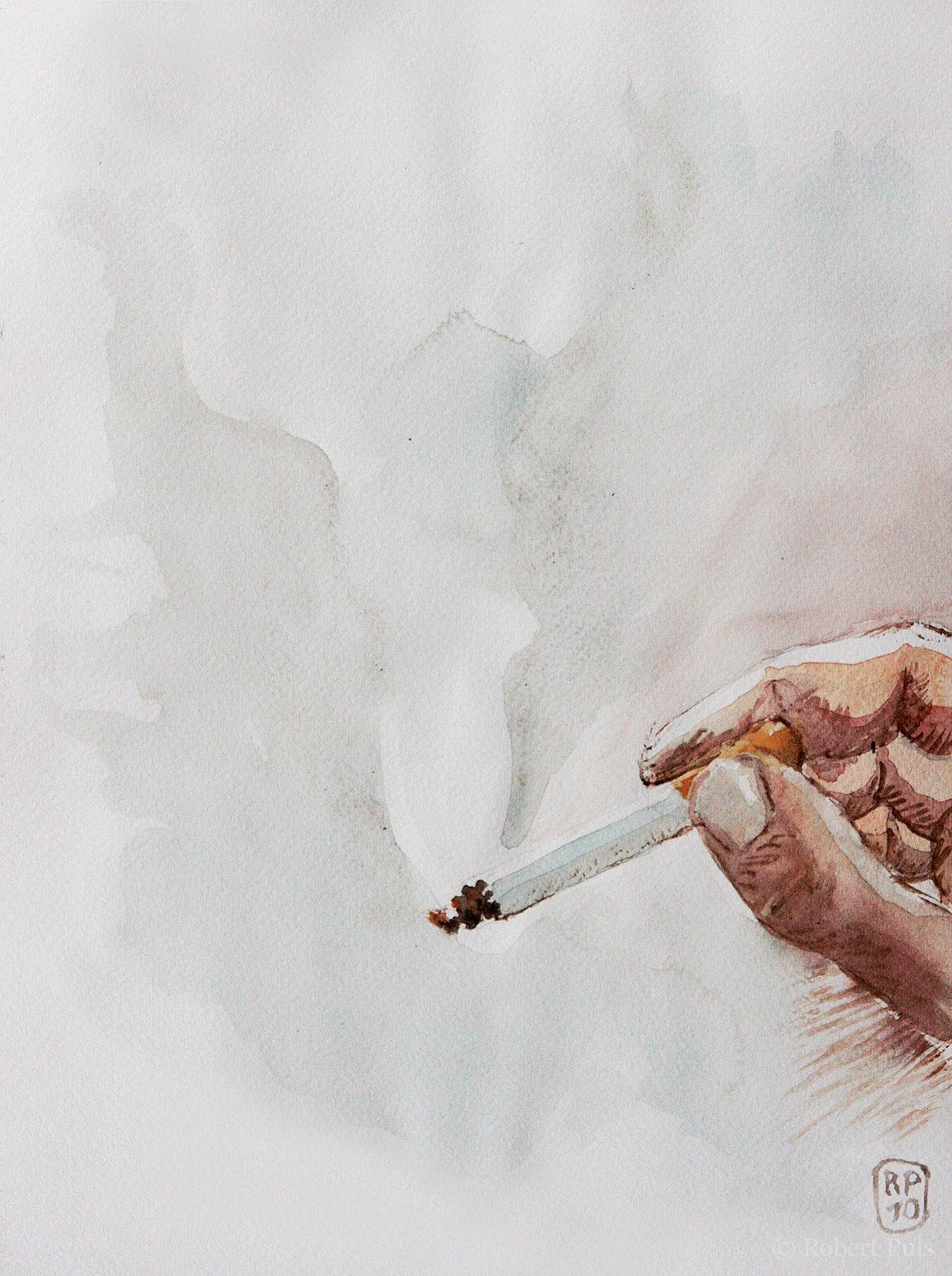 Rauchen Aquarell