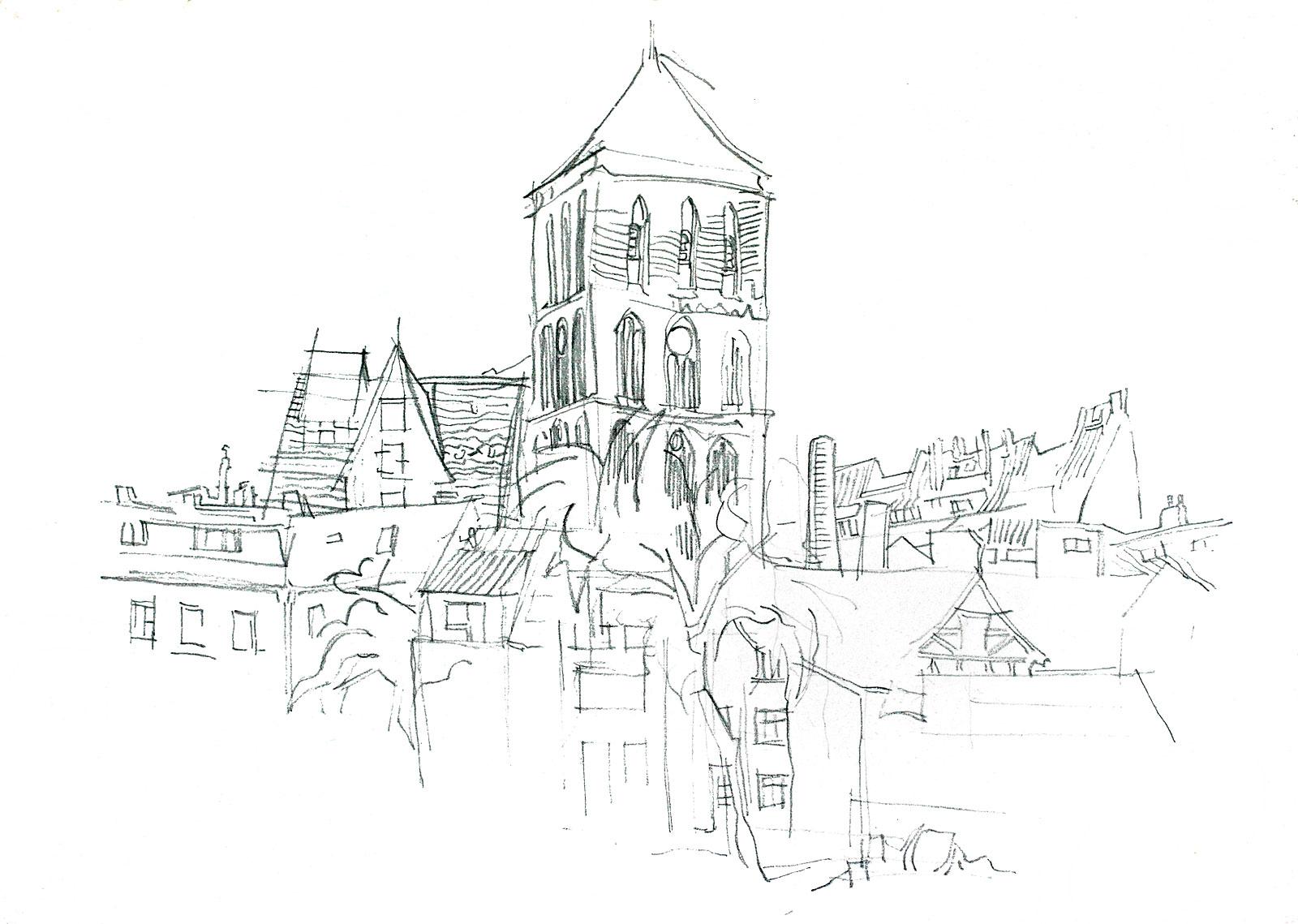 Altstadt Rostock Nikolaikirche Zeichnung