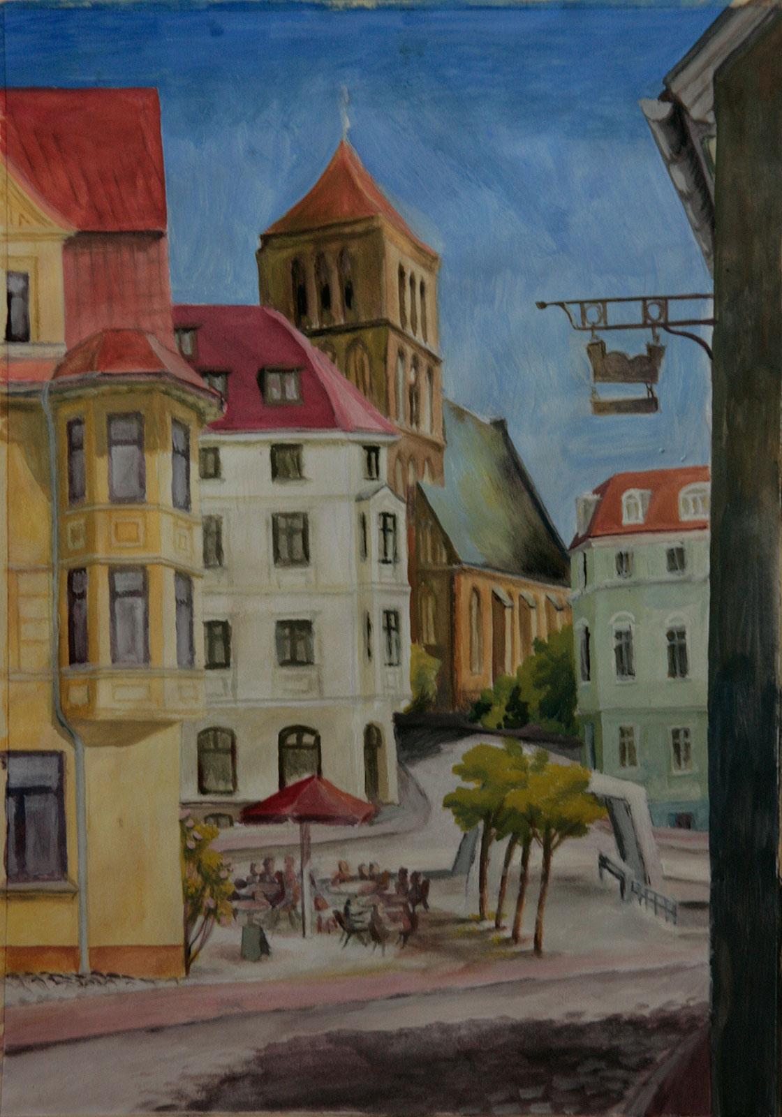 Altstadt Rostock Nikolaikirche hanseatisch gemalt