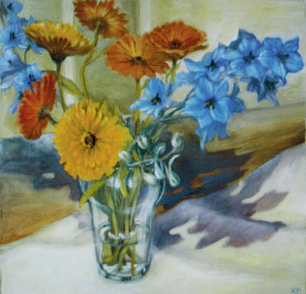 Blumenstrauss Vase Sommer Rittersporn Kunst