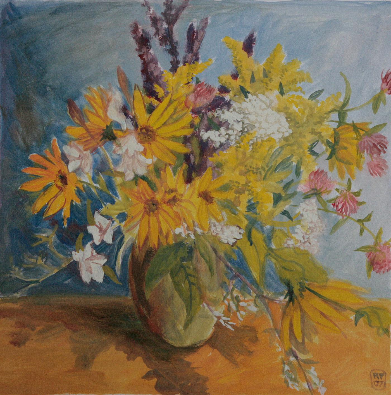 Sommerblumenstrauss Wiese gemalt