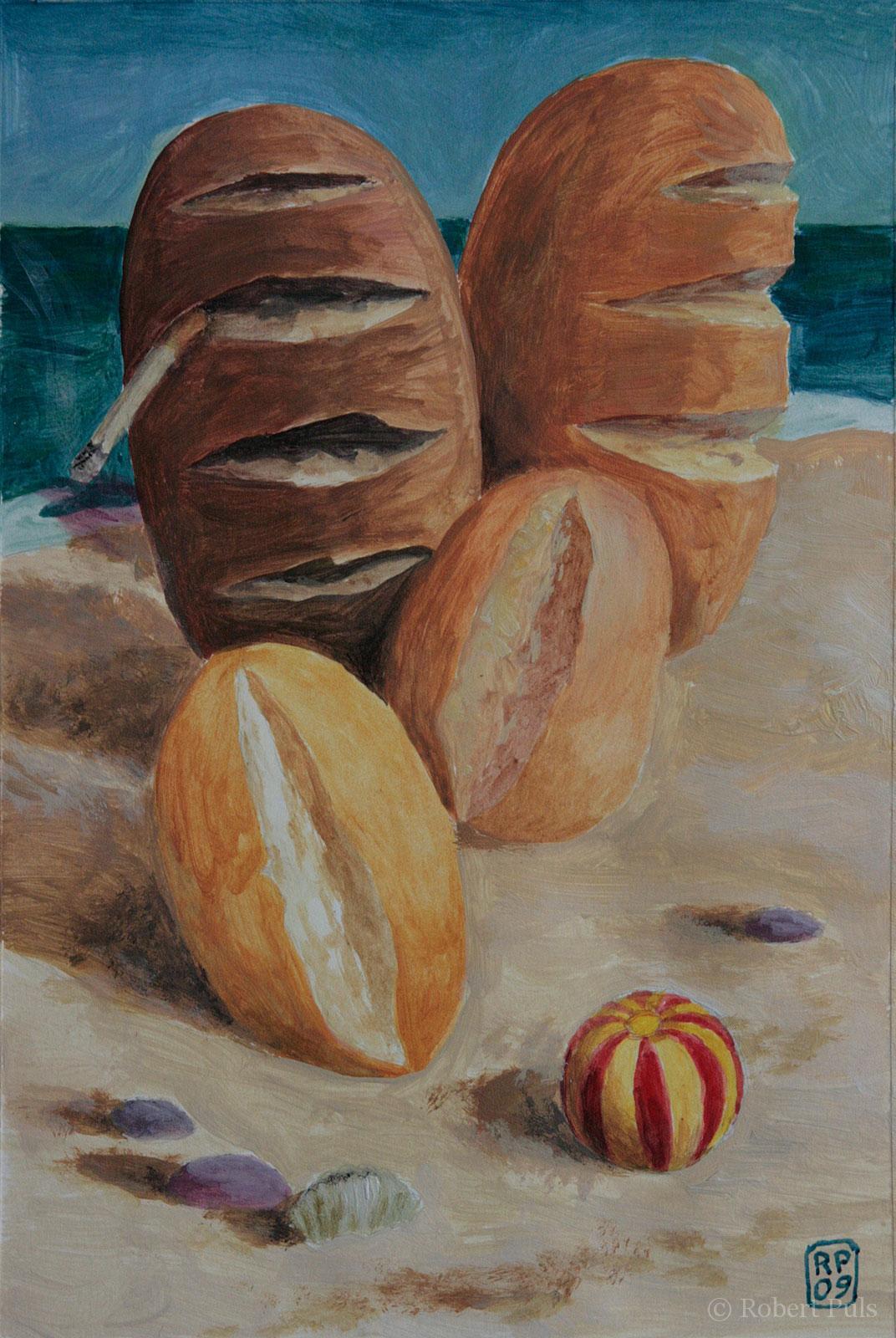 Brotfamilie Strand Brotschaften Robert Puls Malerei