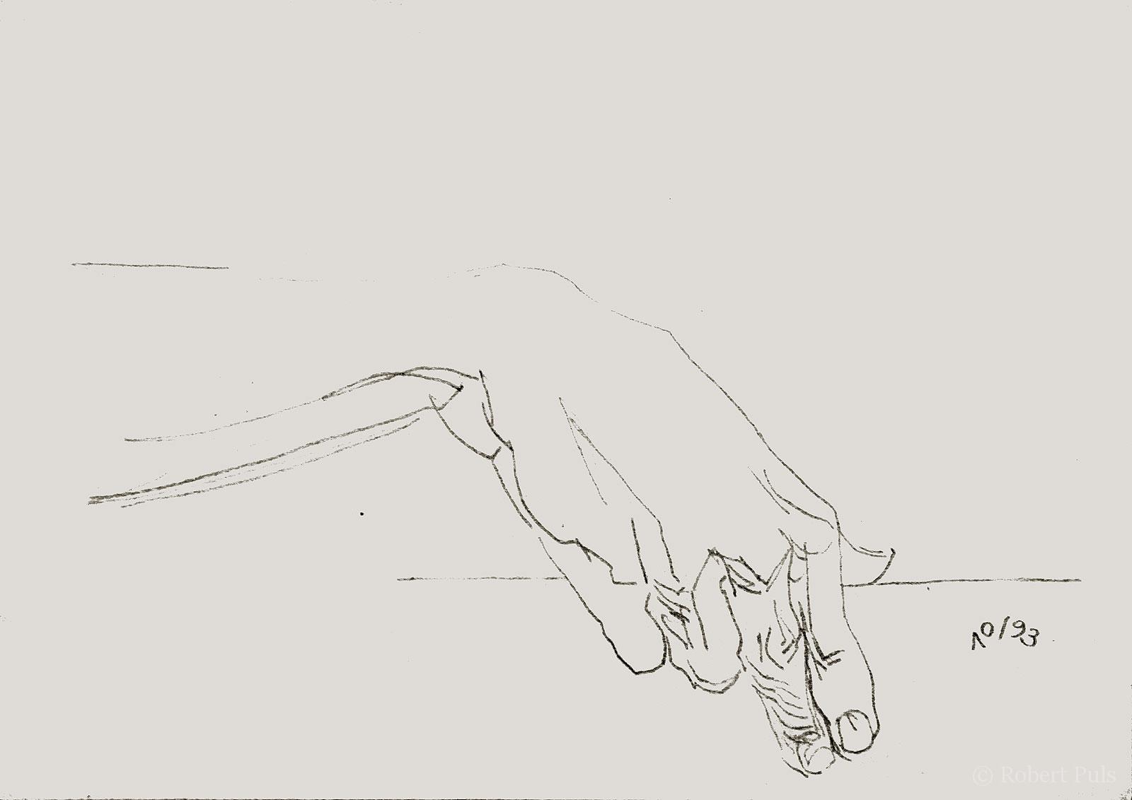 Hand spielt Gitarre Zeichnung