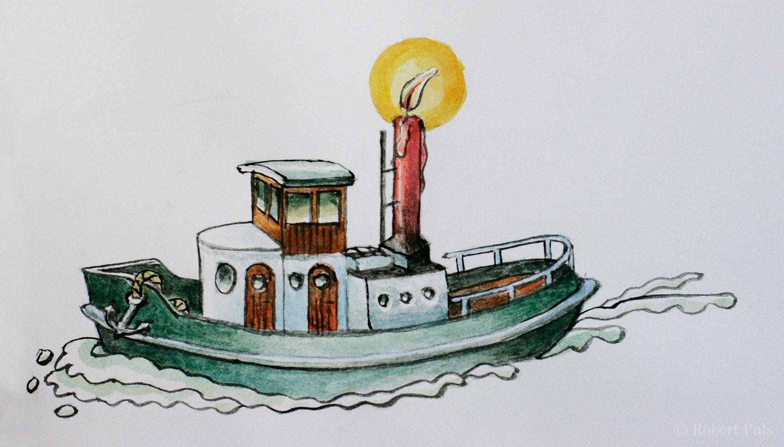 Kutter Schiff Weihnachten Kerze Illustration
