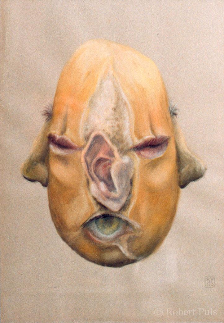 Maske Brotschaften Malerei Robert Puls Tempera