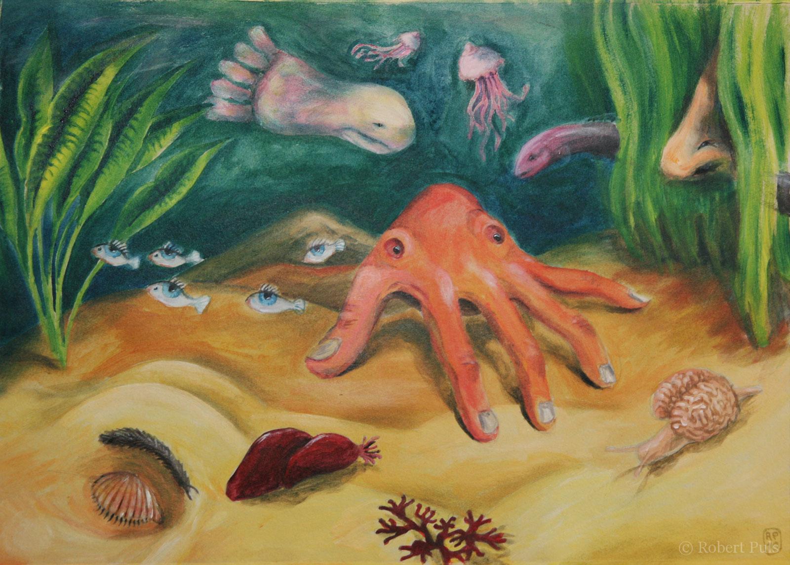 Menschliches III Surreale Malerei Unter Wasser