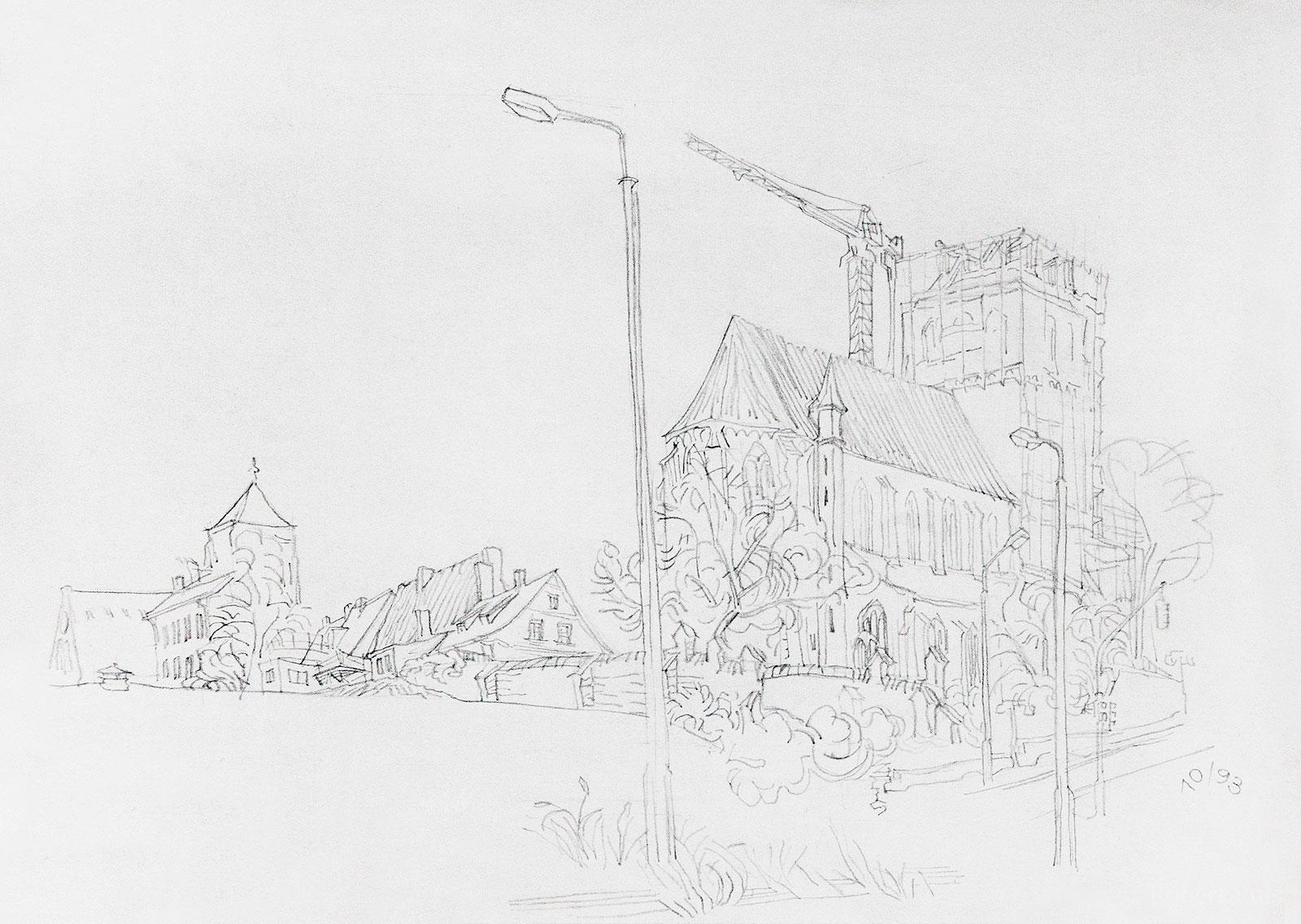 Petrikirche Bau Turmspitze Zeichnung