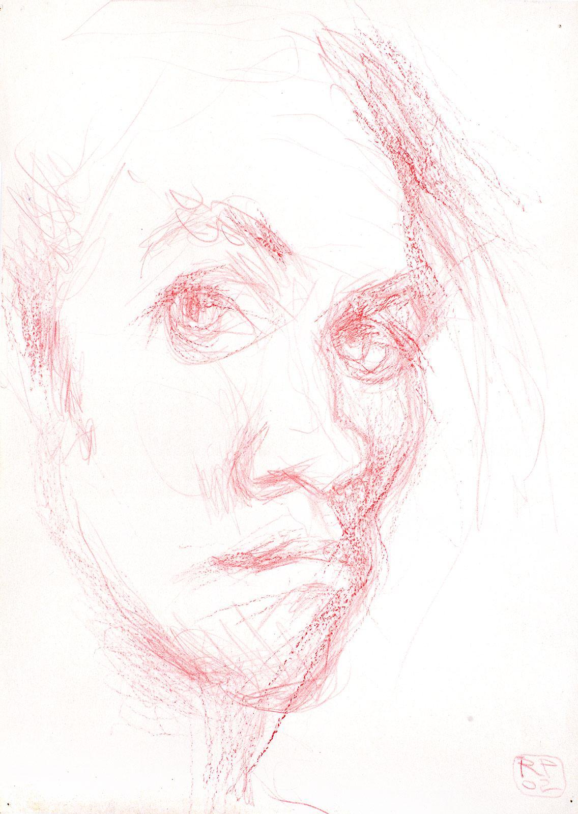 Selbstportrait Robert Puls Zeichnung Buntstift