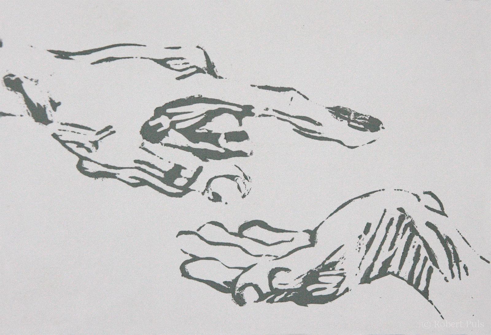 Siebdruck Hände Rosbert Puls