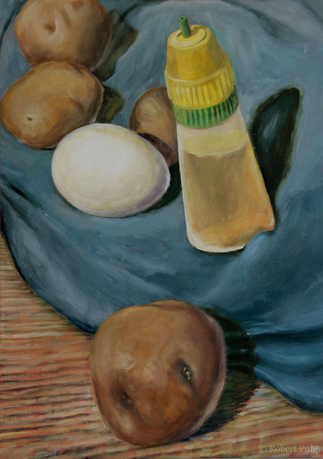 Stillleben Kleber Kartoffel Malerei