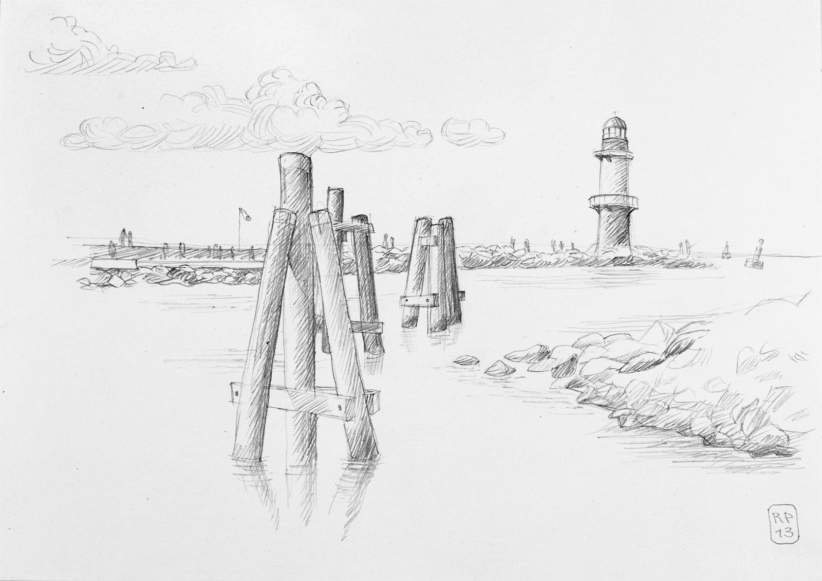 Warnemünde Leuchtturm Alter Strom Hafen Rostock