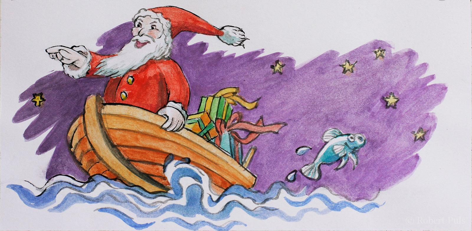 Weihnachtsmann Boot maritim Illustration