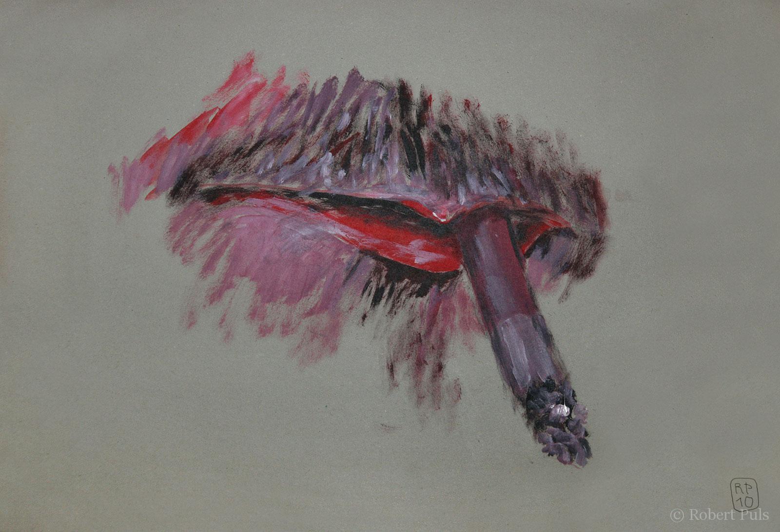 Zigarette im Mund gemalt Robert Puls
