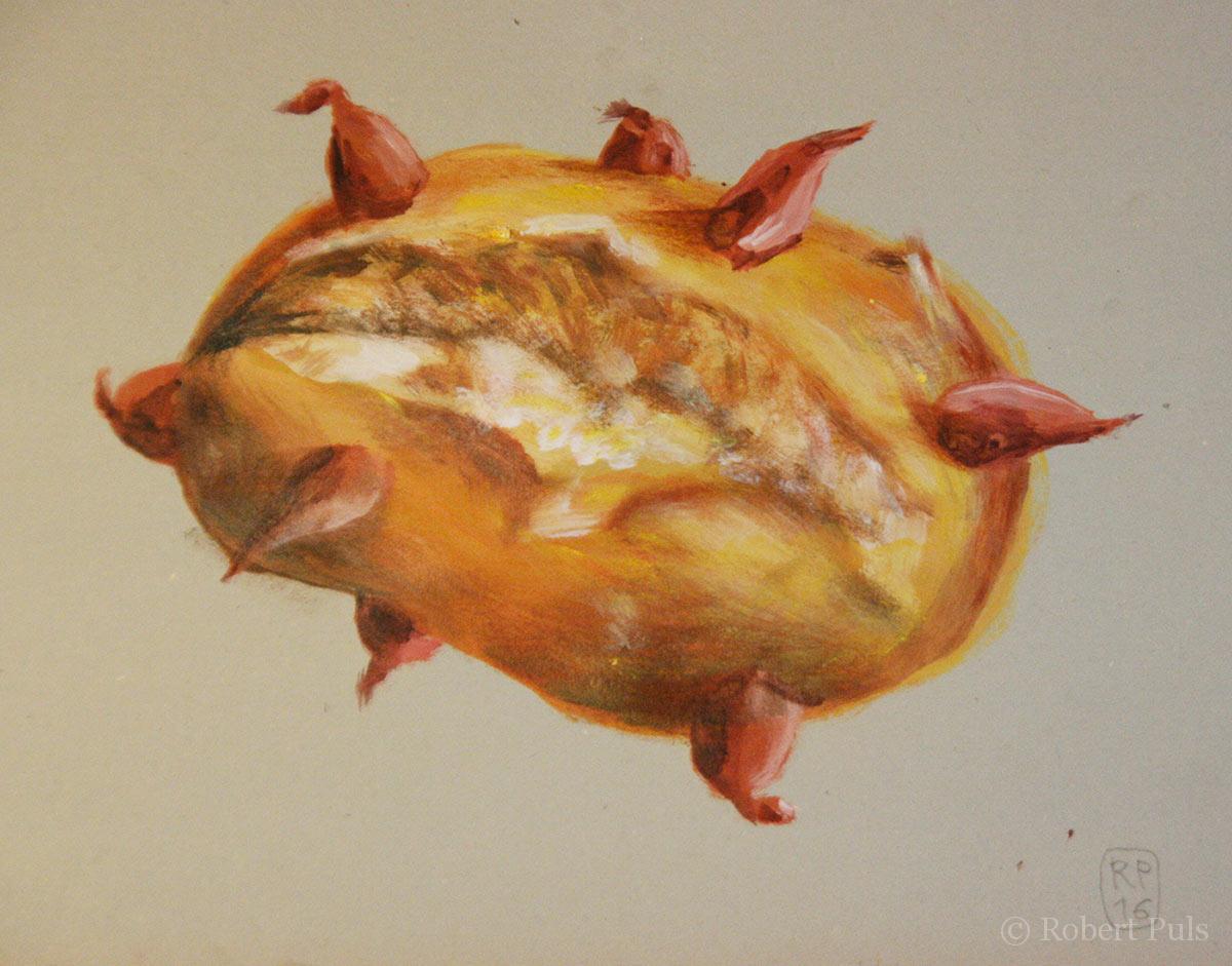 Zwei Welten Brotschaften Malerei Acryl Papier