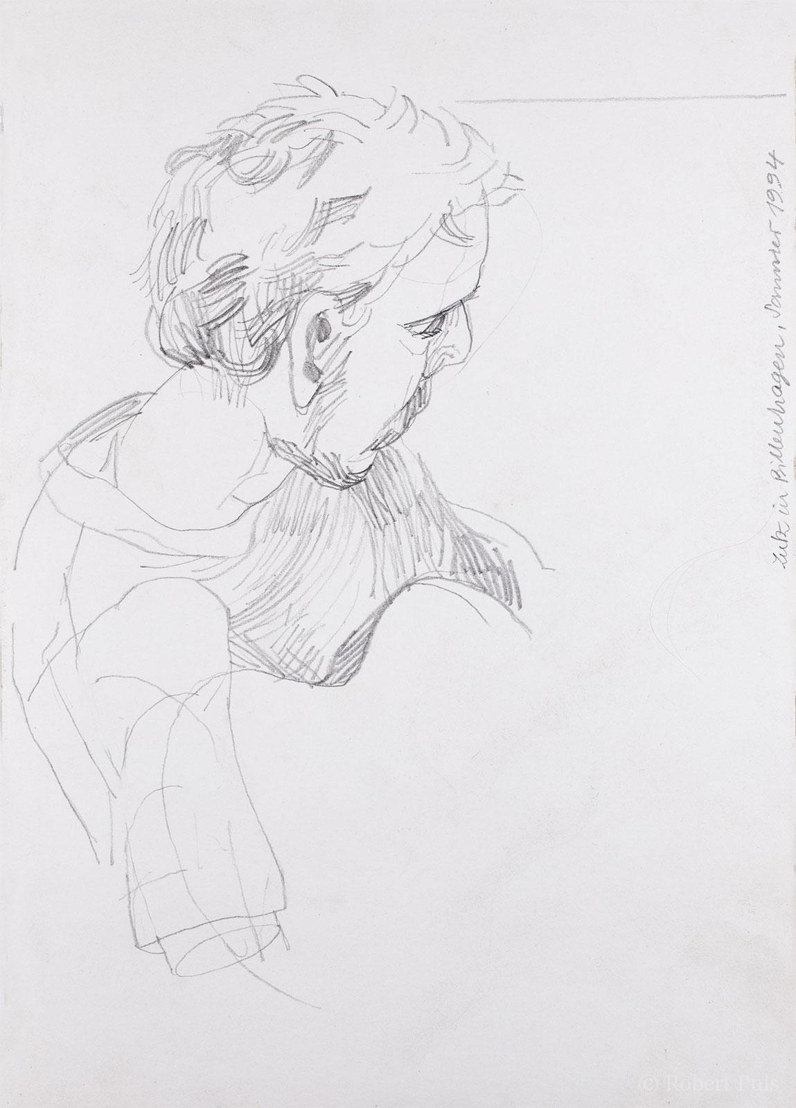 Portrait Gitarre Skizze Bleistift