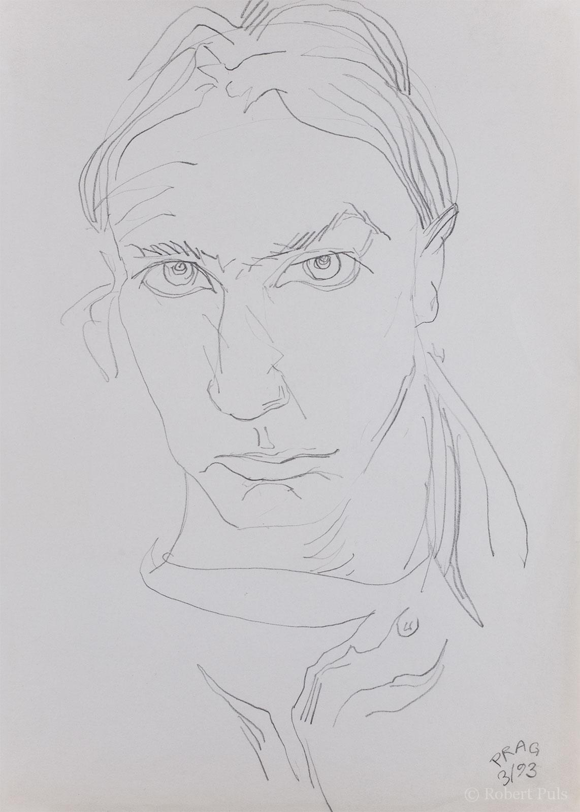 Portrait Prag Skizze Bleistift