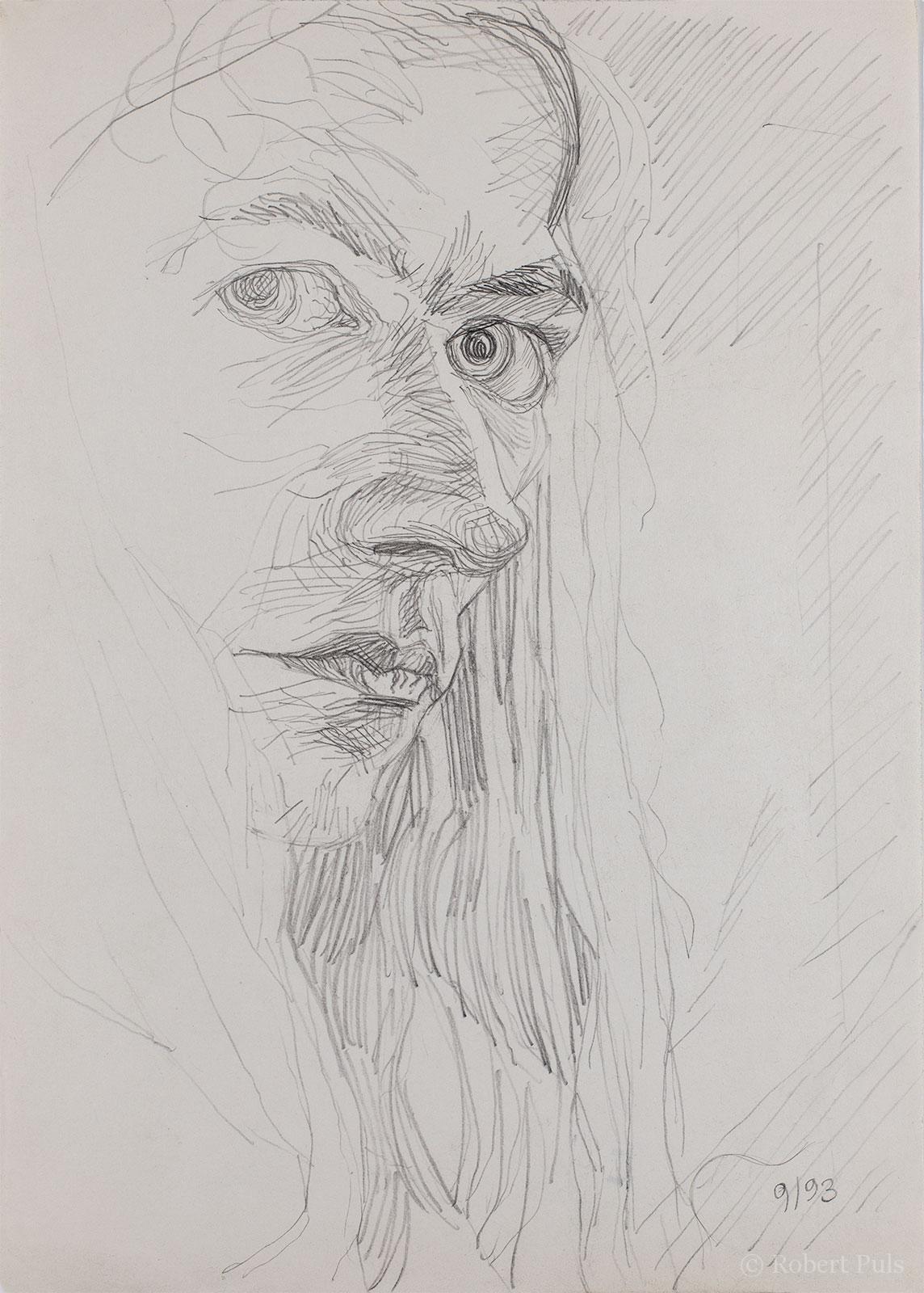 Selbstportrait Skizze Bleistift