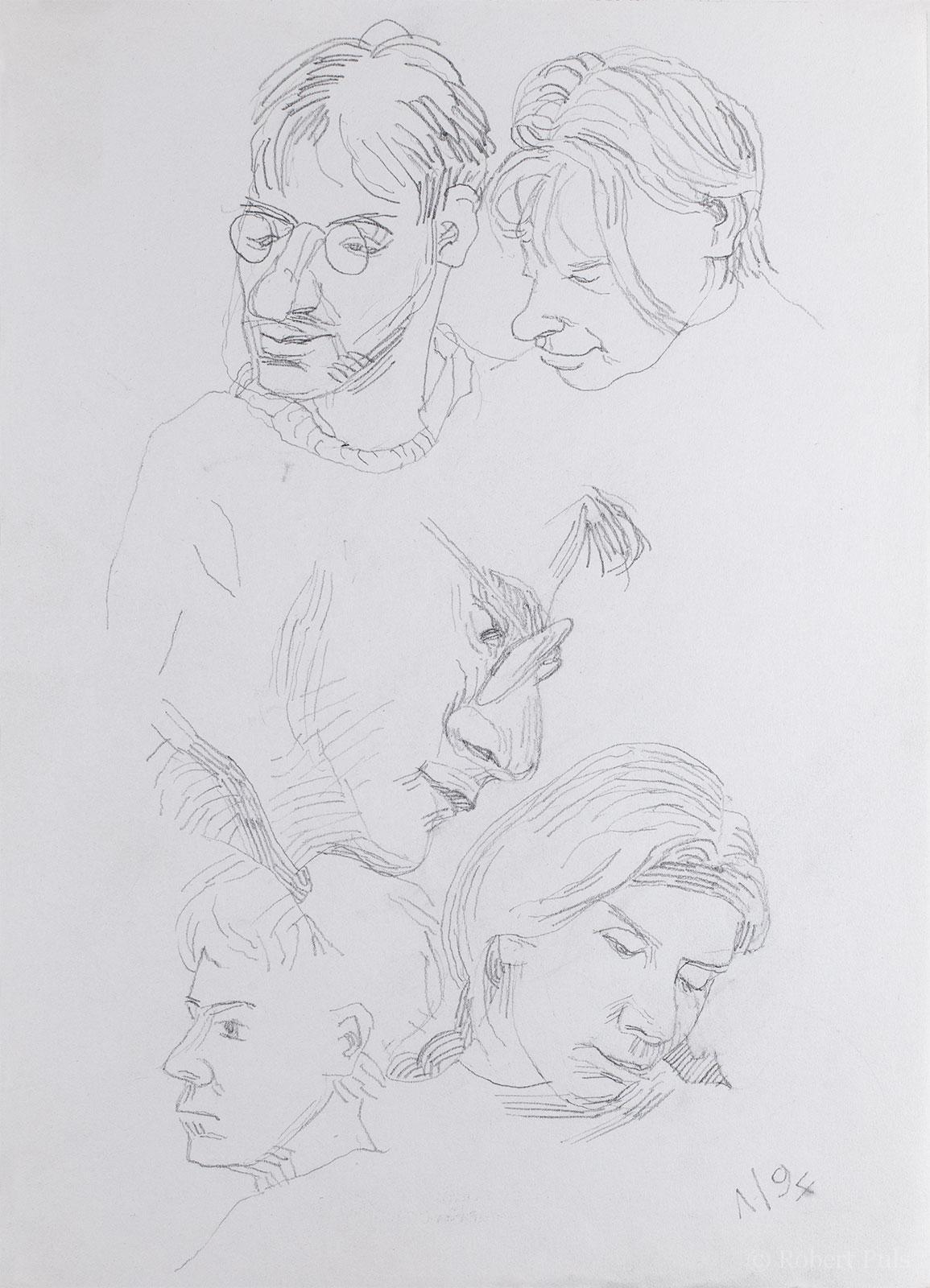 Freunde Bleistift Skizze