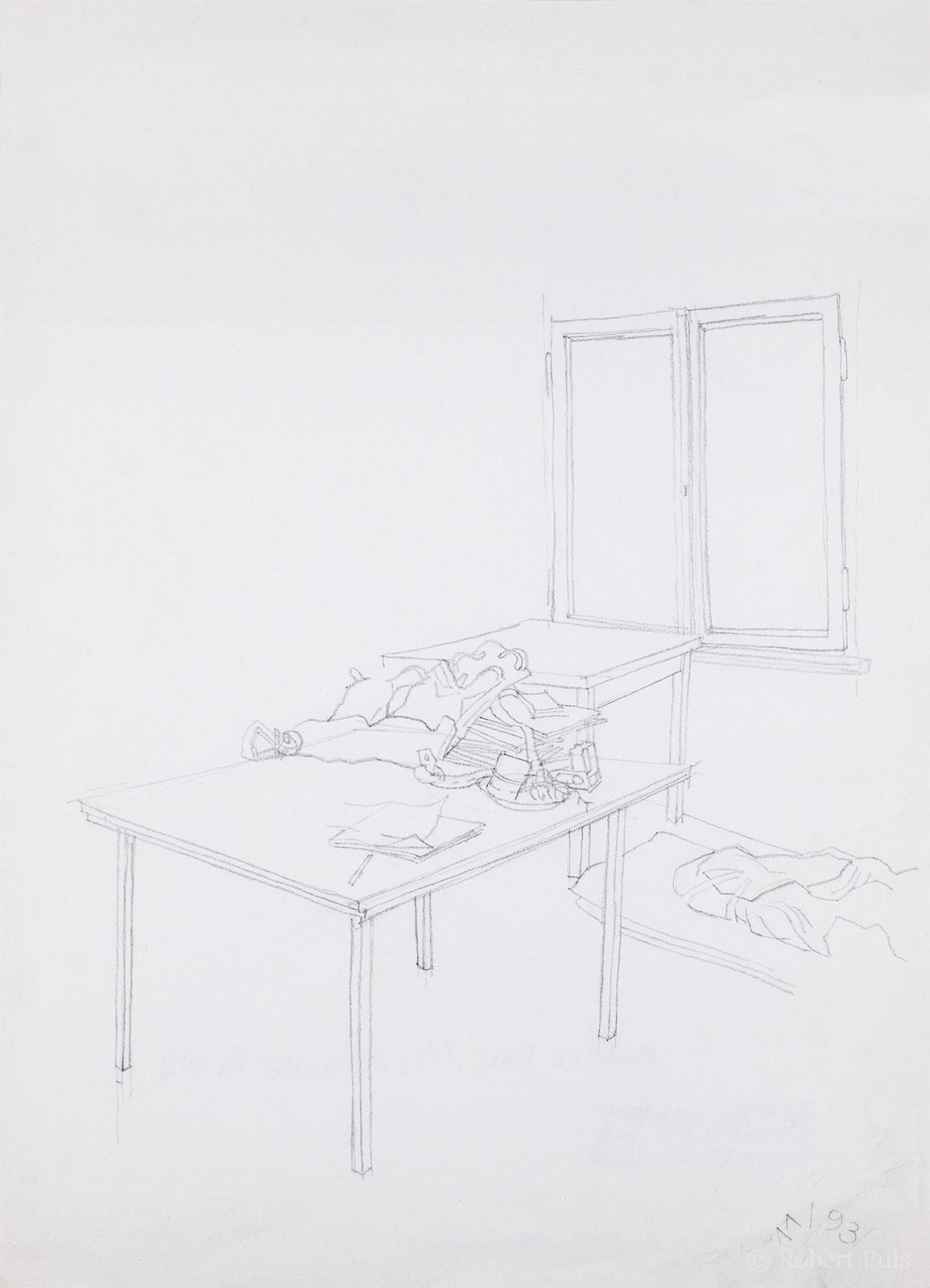 Stiller Raum Bleistift Skizze