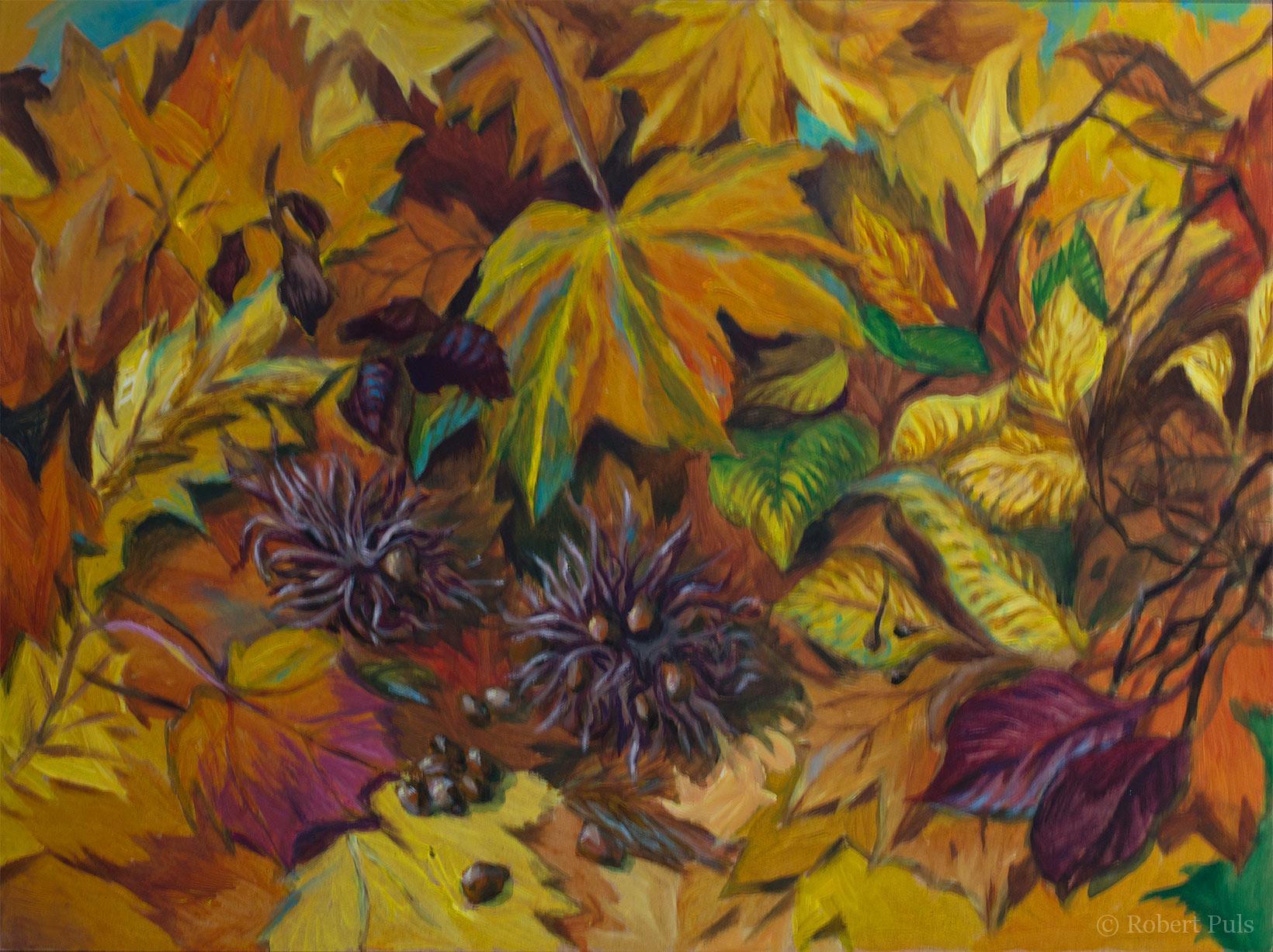 Gemälde Acryl Herbstlaub