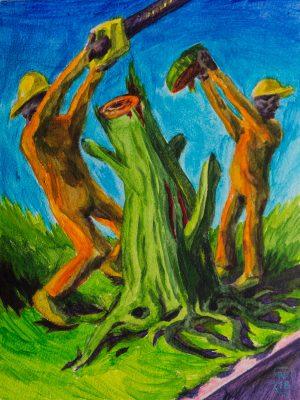 Baumfällung Menschen Malerei Gemälde Acryl