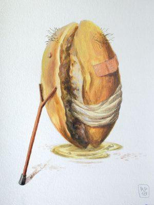 Altes Brötchen Malerei Brotschaften
