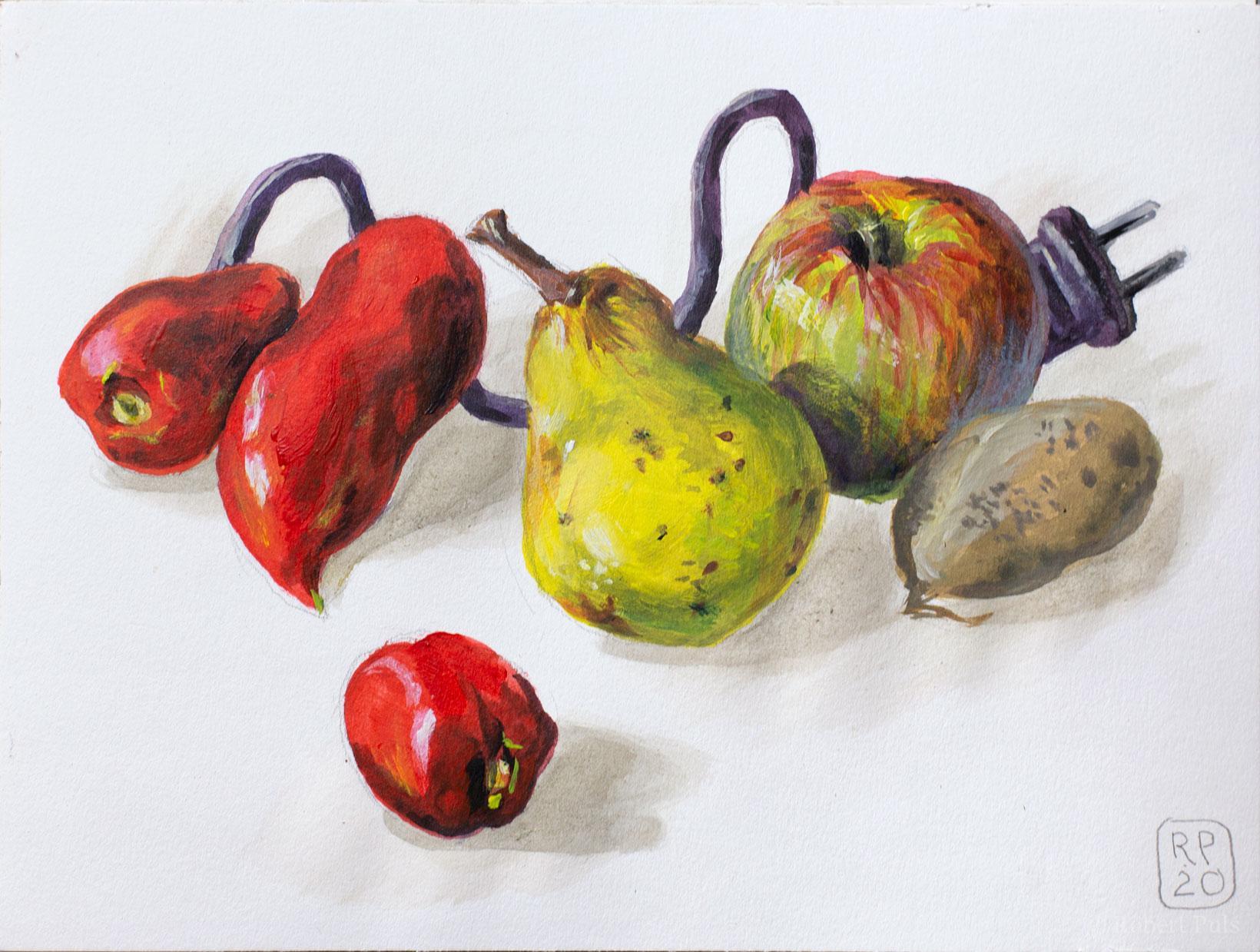 Stillleben mit Birne Acryl Gemälde