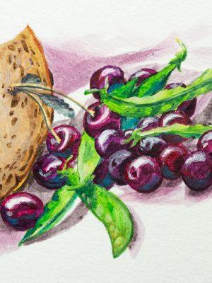 Robert Puls Malerei – Proviant Käsebrot mit Kirschen und Erbsen, Acryl