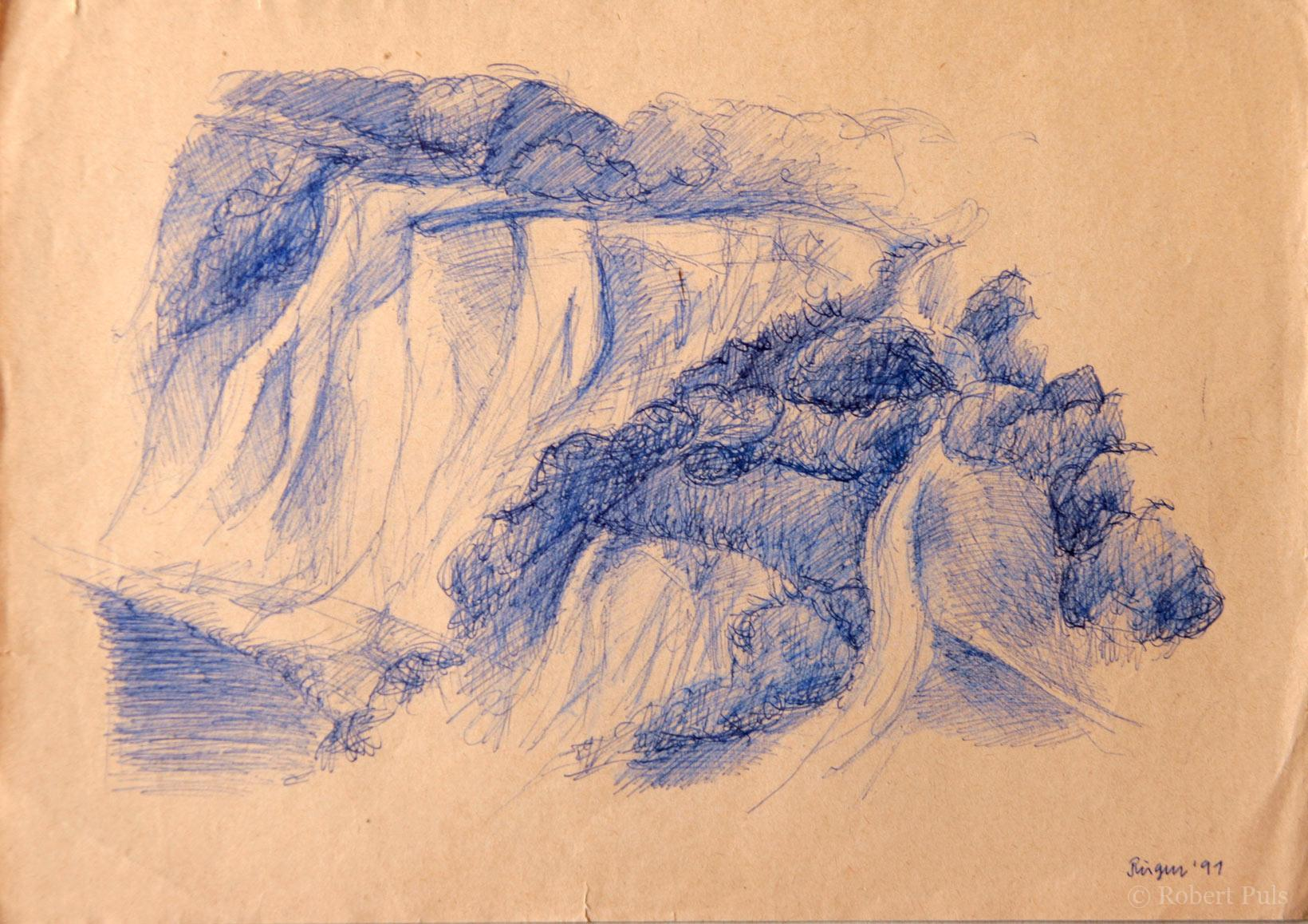Insel Rügen, Zeichnung Kugelschreiber, Robert Puls