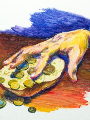 Malerei Brotschaften – Zugriff – 2021, Robert Puls, Acryl