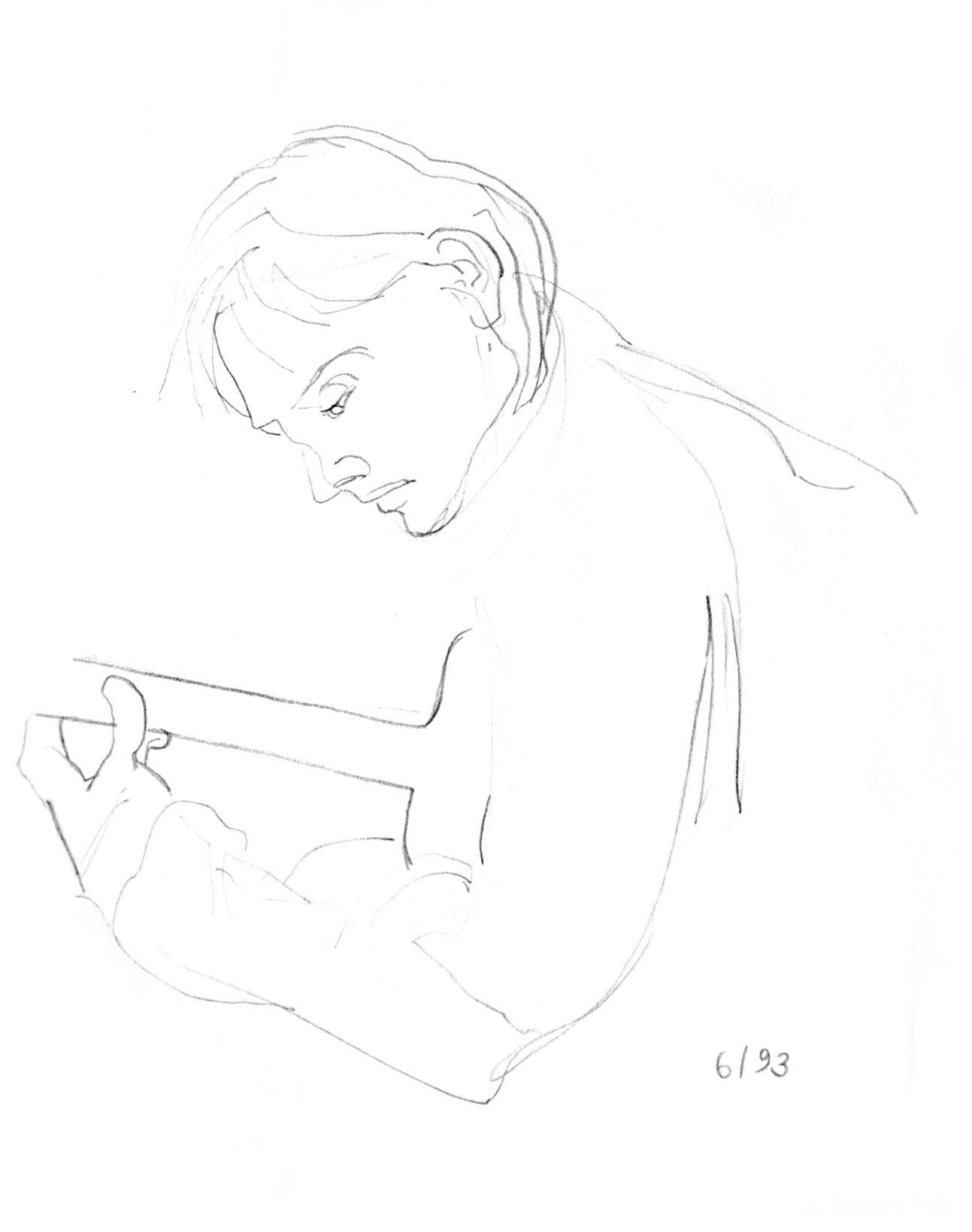 Skizze Gitarrenspieler, Bleistift-Zeichnung, Robert Puls