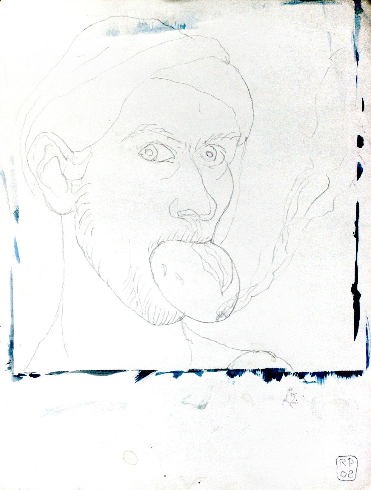 Selbstportrait – rauchend, Zeichnung, Robert Puls, 2002